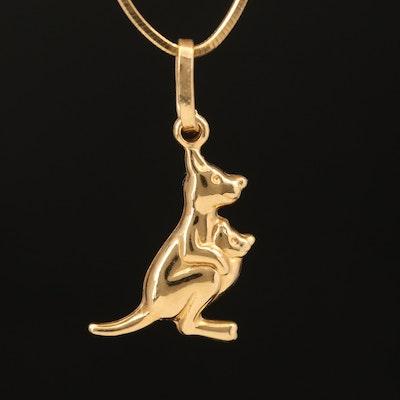 18K Kangaroo with Joey Pendant Necklace