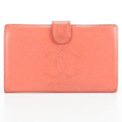 Chanel CC Wallet in Coral Caviar Leather