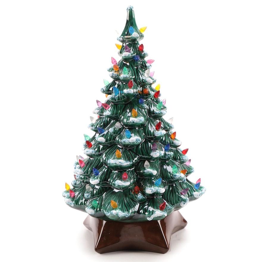 Holland Mold Illuminated Ceramic Christmas Tree with Musical Base