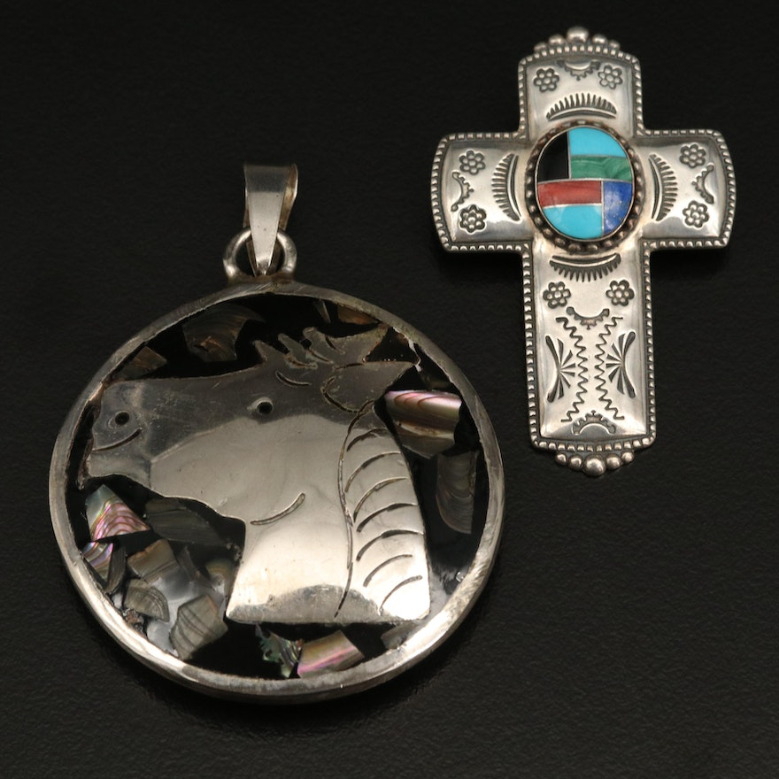 Sterling Inlaid Cross Converter Brooch and Reversible Pendant
