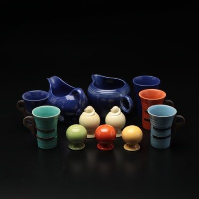 Pacific Pottery Fiesta-Style Tableware Including Gravy Boat, Mugs, Salt Shakers