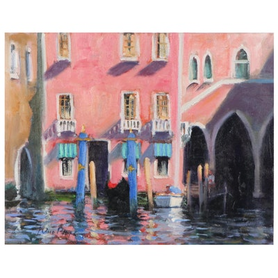 """Nino Pippa Oil Painting """"Venice - Palaces on the Grand Canal,"""" 2018"""