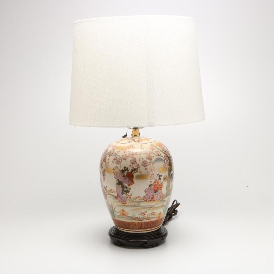 Japanese Kutani Style Porcelain Jar Table Lamp