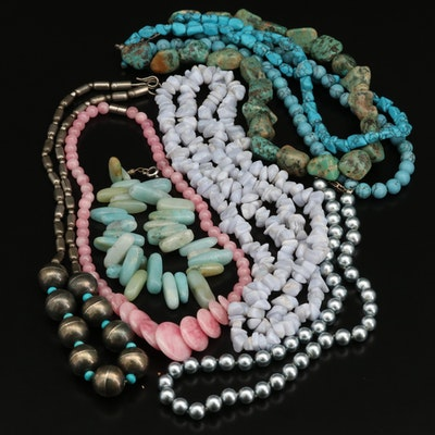 Southwestern Style Sterling, Turquoise and Assorted Gemstone Necklaces