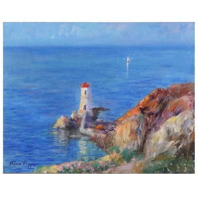 """Nino Pippa Oil Painting """"Sardinia - Capo Ferro Lighthouse,"""" 2017"""