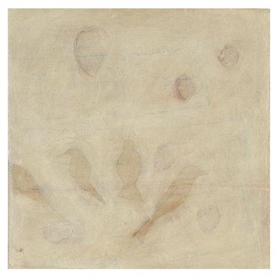 "Lynn Whipple Abstract Mixed Media Painting ""Songbird #1"""