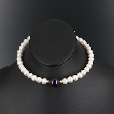 Amethyst and Pearl Choker Necklace with 14K Accent Beads