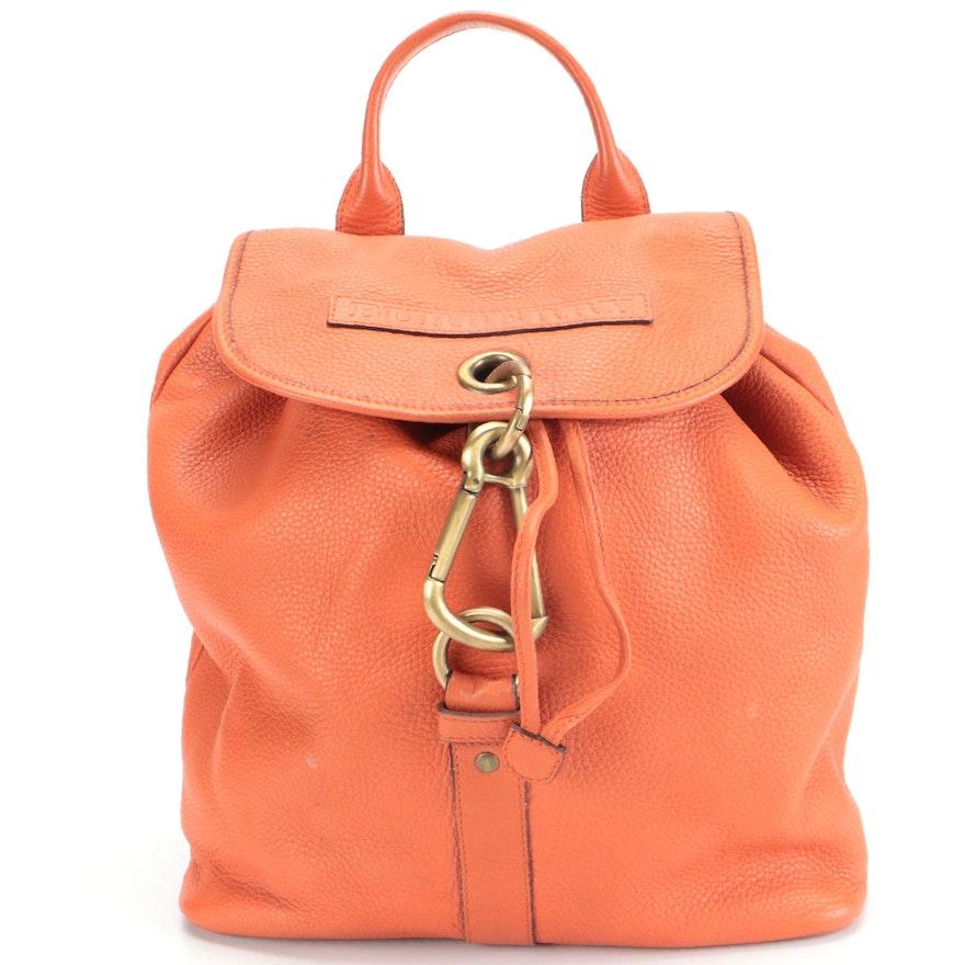 Burberry Drawstring Backpack in Orange Pebble Grain Leather