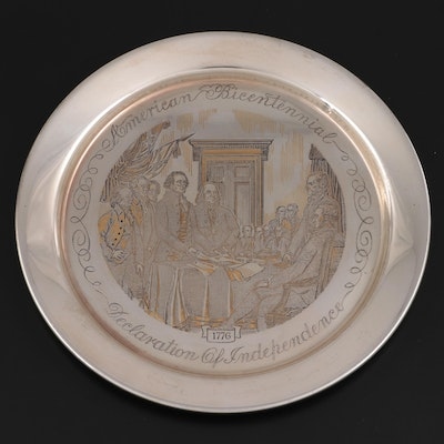 Danbury Mint Limited Edition Sterling Silver Bicentennial Plate, 1976