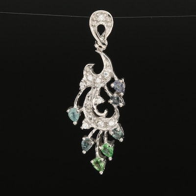 Sterling Alexandrite and Zircon Pendant with Additional Gemstones