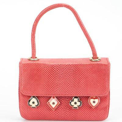 Judith Leiber Card Charms Red Lizard Skin Handbag