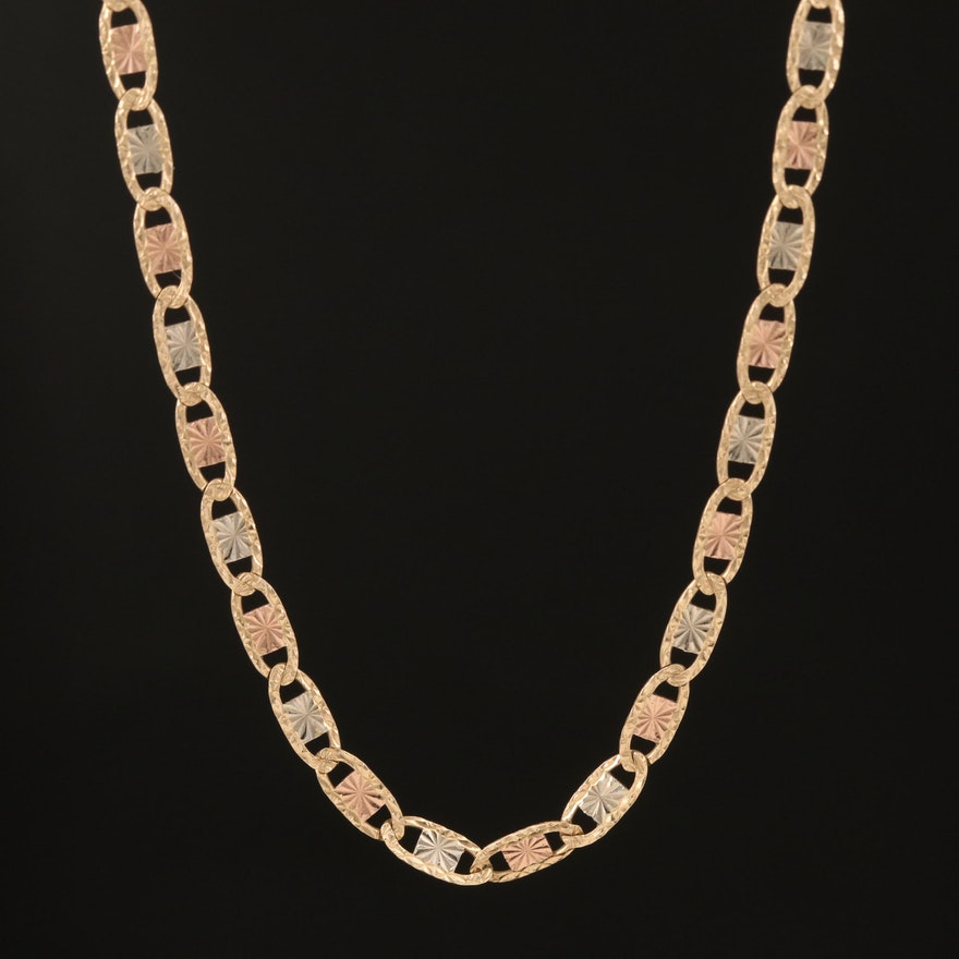 14K Tri-Color Gold Mariner Link Necklace