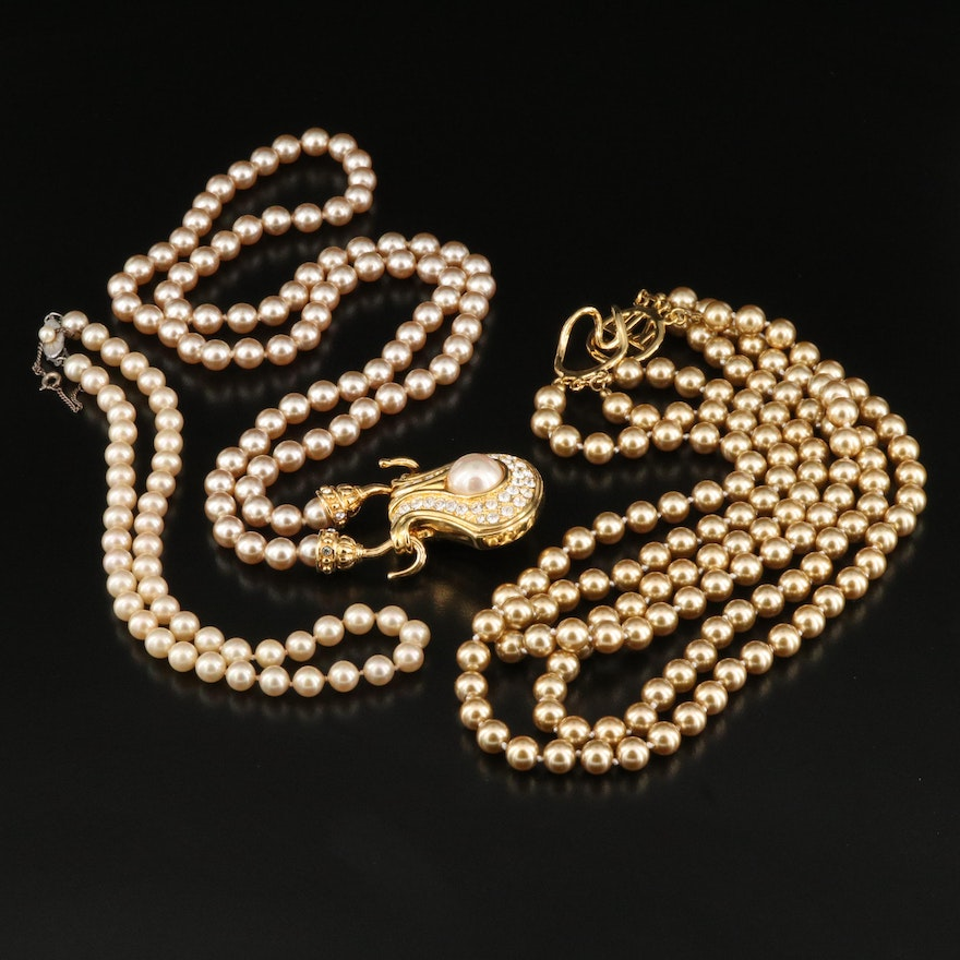 Imitation Pearl Necklaces Featuring Kenneth Jay Lane and Nolan Miller