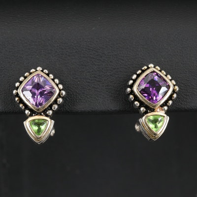 Sterling Silver Cubic Zirconia and Glass Earrings