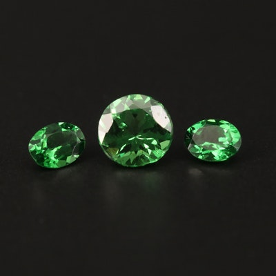 Loose 1.74 CTW Faceted Tsavorite Garnet Including Matched Pair