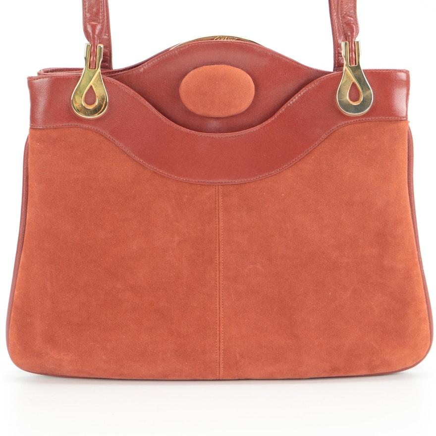 Lou Taylor Leather and Suede Shoulder Bag