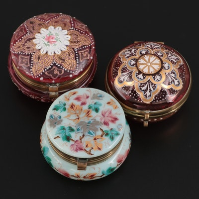 Bohemian Cranberry Glass Mosaic Enameled and Other Vanity Boxes, Antique