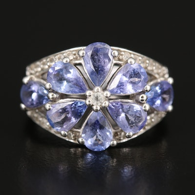 Sterling Silver Tanzanite and Topaz Floral Ring