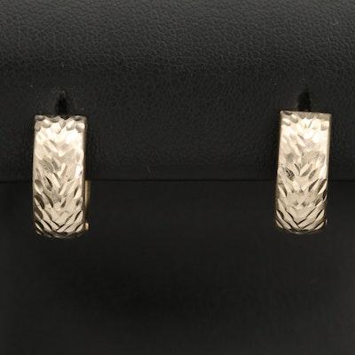 14K Diamond Cut Reversible Huggie Earrings