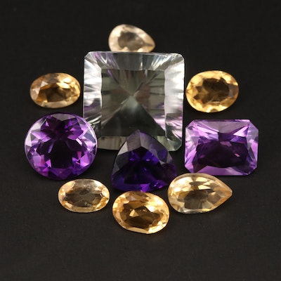 Loose 24.39 CTW Mixed Faceted Amethyst, Citrine and Prasiolite