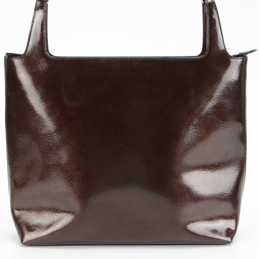 Gucci Square Shoulder Bag in Brown Pigskin Patent Leather