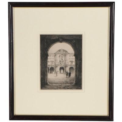 "Charles Henri Toussaint Etching ""Gateway of St. John's College"""