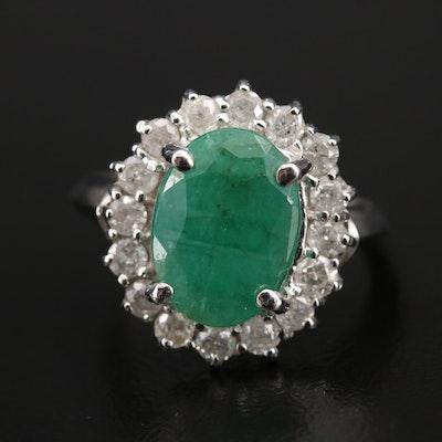 14K 2.48 CT Emerald and Diamond Ring