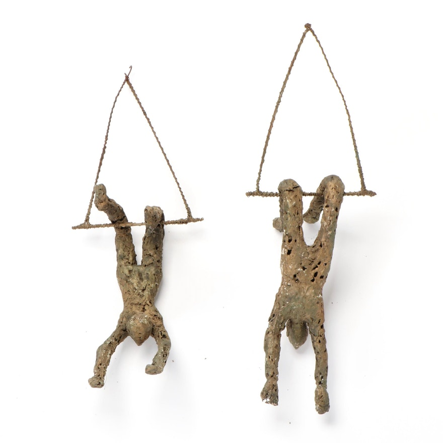 Ceramic and Wire Sculptures of Acrobats, Late 20th Century
