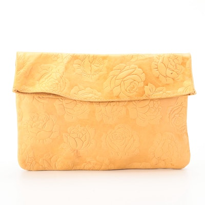 Florenzo Italian Influence Fold-Over Clutch in Floral Embossed Leather