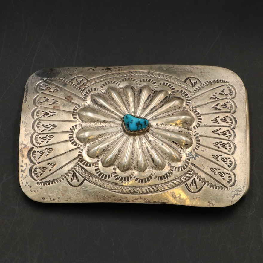 Sterling Silver and Turquoise Southwestern Style Belt Buckle