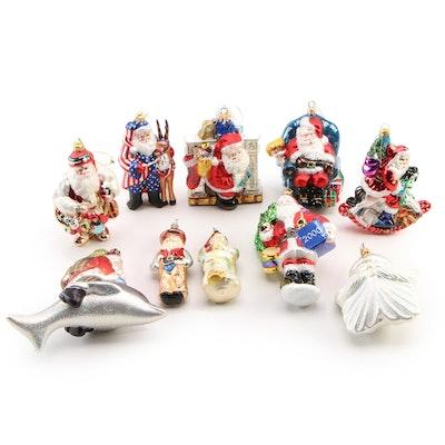 Santa Claus Themed Blown Glass Christmas Ornaments