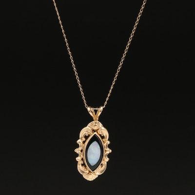 14K Opal and Black Onyx Pendant Necklace