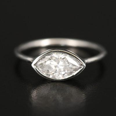 Platinum 1.11 CT Diamond East-West Ring