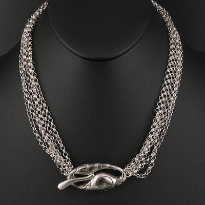 Italian Sterling Silver Multi-Chain Toggle Necklace