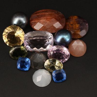 Loose Mixed Cut Kunzite, Rutilated Quartz, Color Changing Fluorite and Gemstones
