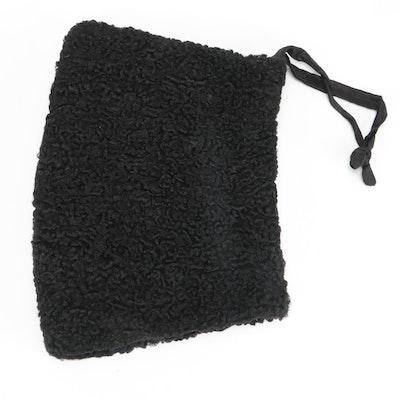 Black Persian Lamb Fur Muff with Interior Zip Pocket