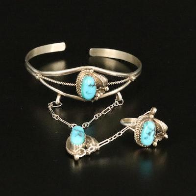 Southwestern Sterling Turquoise Harem Bracelet