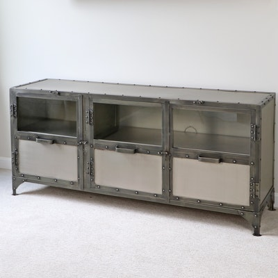 """Four Hands """"Element"""" Nickel-Finished Iron and Glass Media Console"""