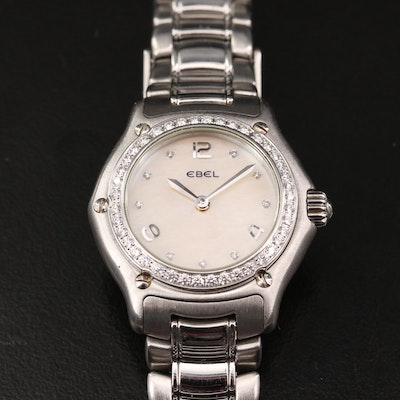 Ebel 1911 Mother of Pearl Diamond Dial and Bezel Stainless Steel Wristwatch