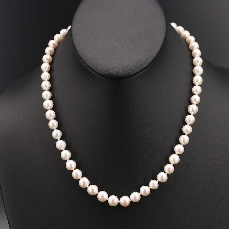 Pearl Strand Necklace with 18K Clasp