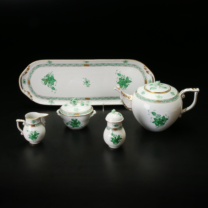 """Herend """"Chinese Bouquet Green"""" Hand-Painted Porcelain Tableware"""