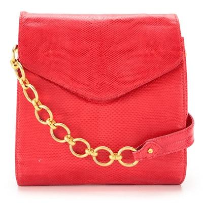 Donna Karan Red Embossed Leather Shoulder Bag