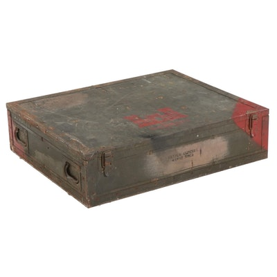 U.S. Army Corps of Engineers Metal-Mounted Wooden Spare Parts Trunk