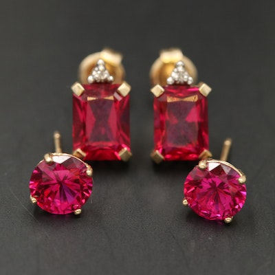 10K Ruby and Diamond Earrings with 14K Ruby Studs