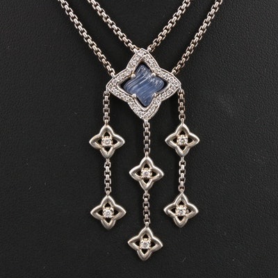 David Yurman Sterling Chalcedony and Diamond Quatrefoil Festoon Necklace