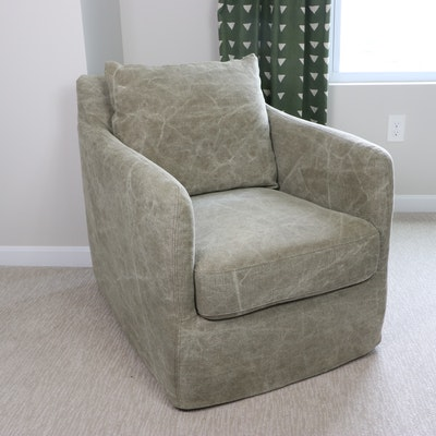 """Four Hands """"Banks"""" Swivel Armchair in Stonewashed Fabric"""