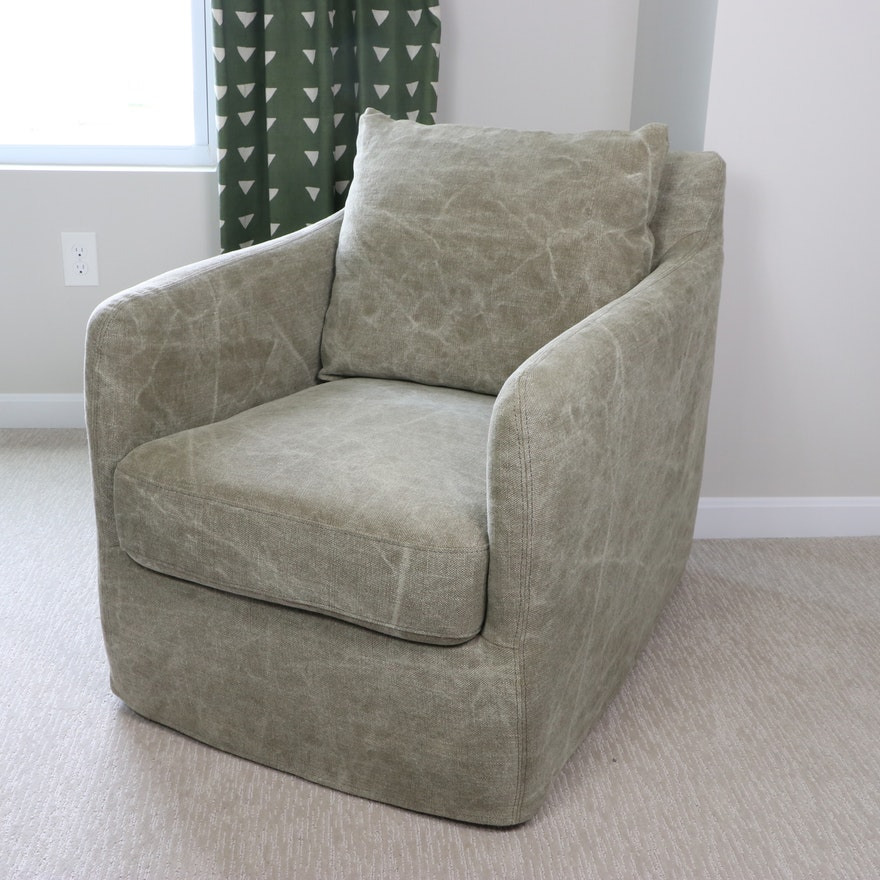 """Four Hands """"Banks"""" Swivel Club Chair in Stonewashed Fabric"""