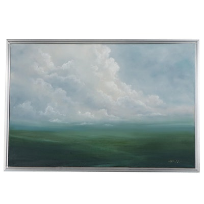 "Sarah Brown Oil Painting ""Verdant II,"" 21st Century"