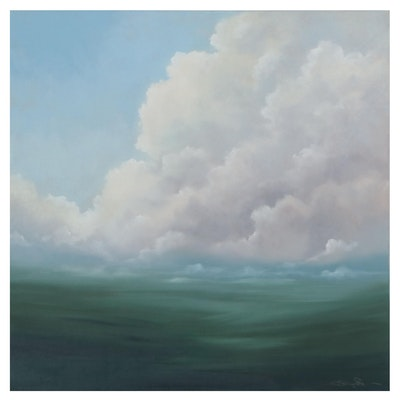 "Sarah Brown Oil Painting ""Verdant I,"" 21st Century"