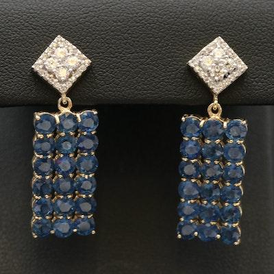 Sterling Sapphire and Zircon Drop Earrings